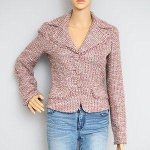 Bebe Vintage Tweed Jacket Blazer Lavender Sz 4